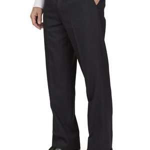 Flat Front Regular Tropical Black Pants