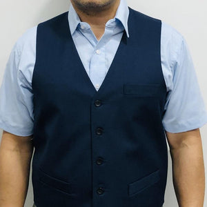 Vest Male Single Breasted Navy 17 Sharkskin