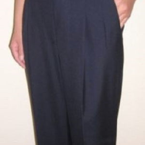Pleated Sharkskin Blue Pants