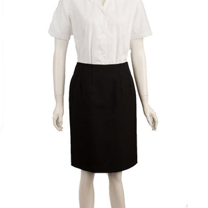 Skirt Straight with Pocket Black Sharkskin