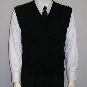 Unisex V-Neck Black Sweater Vest