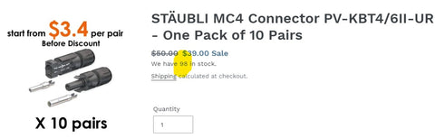 MC4 Connector Stock availability