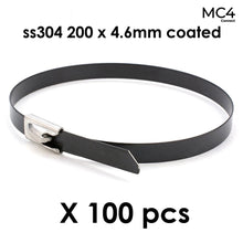 Load image into Gallery viewer, Solar Cable Ties Zip Ties 304 Stainless Steel Nylon Coated 200mm x 4.6mm - Pack of 100pcs