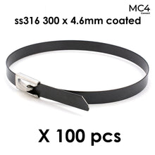 Load image into Gallery viewer, Solar Cable Ties Zip Ties 316 Stainless Steel Nylon Coated 300mm x 4.6mm - Pack of 100pcs