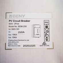 Load image into Gallery viewer, ZJ Beny DC Circuit Breaker 500V 250A 2P Enclosure BDM-250