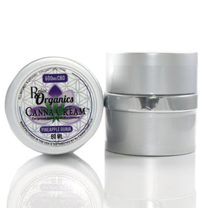 small jar of CBD topical cream with pineapple scent