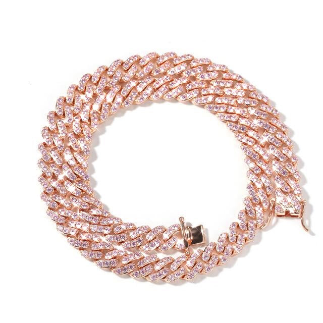 """Pink G"" Iced Out Cuban Link Necklace"