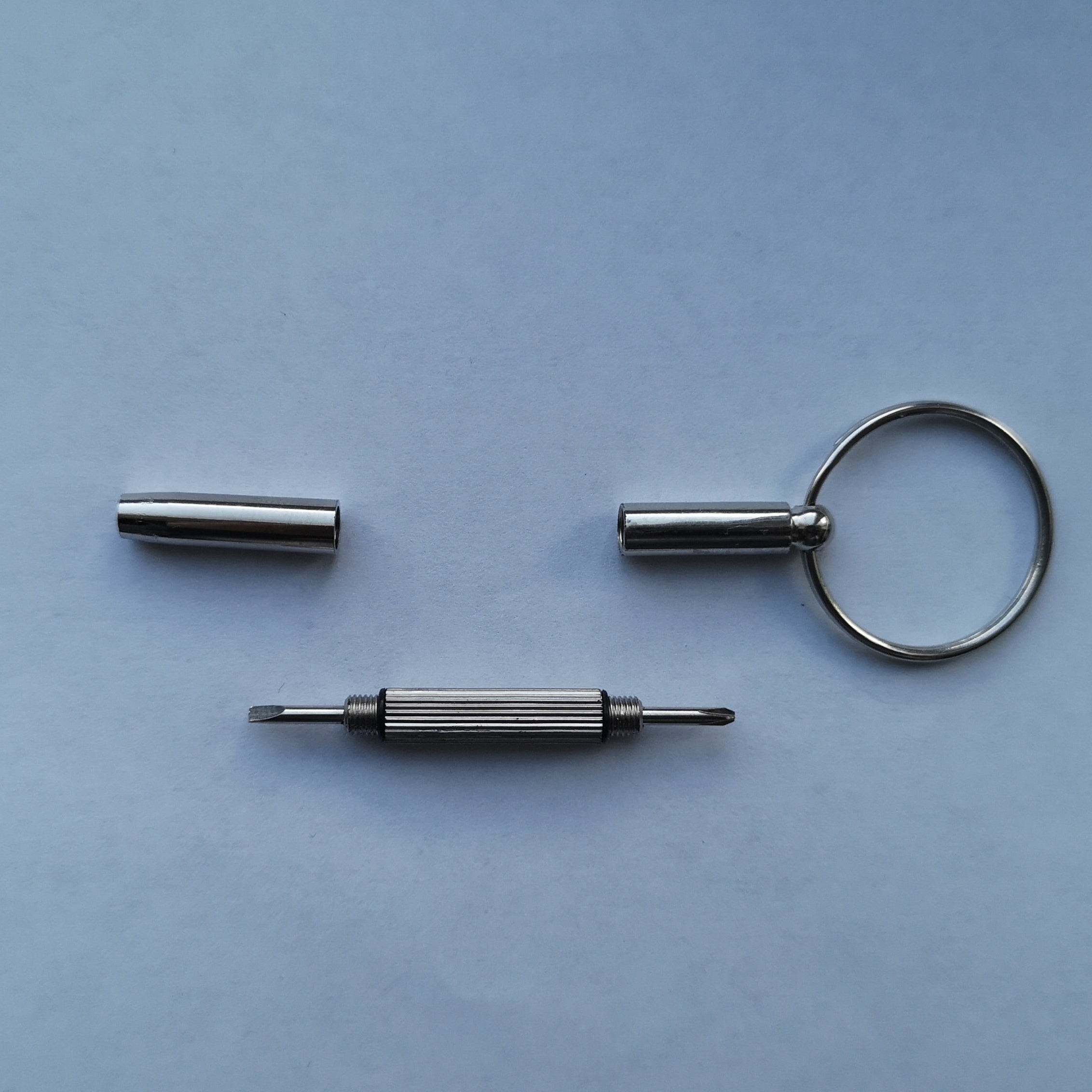 Dismantled Double head mini Screwdriver keyring phillips and flat head