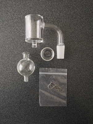 30mm Quartz Banger with Quartz Insert, Quartz bubble carp cap and Cotter pins