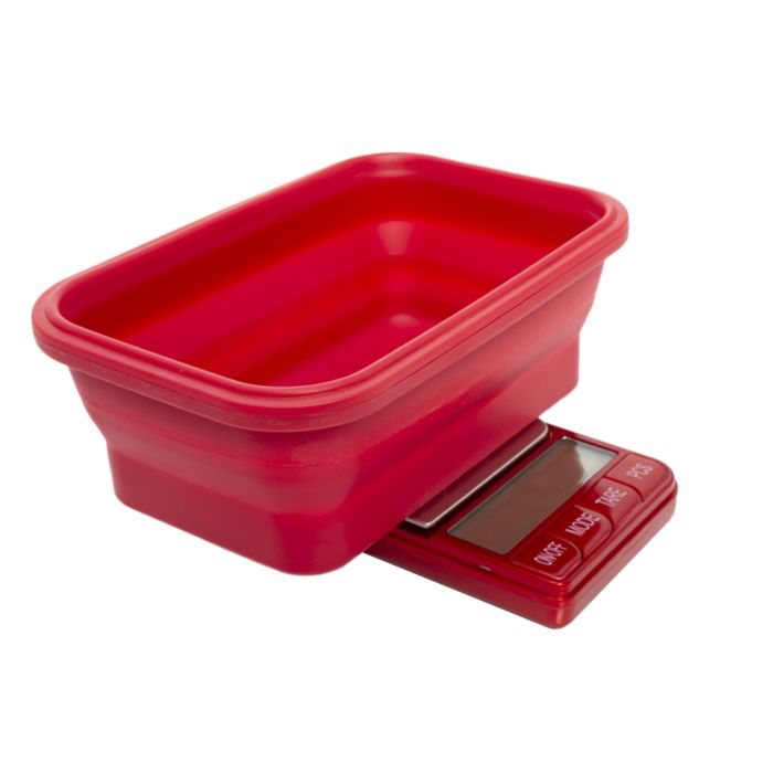 Omega collapsible bowl digital scales in Red 0.1g -1000g