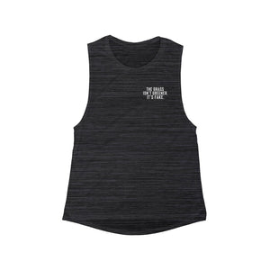 THE GRASS ISN'T GREENER. IT'S FAKE. Women's Flowy Scoop Muscle Tank