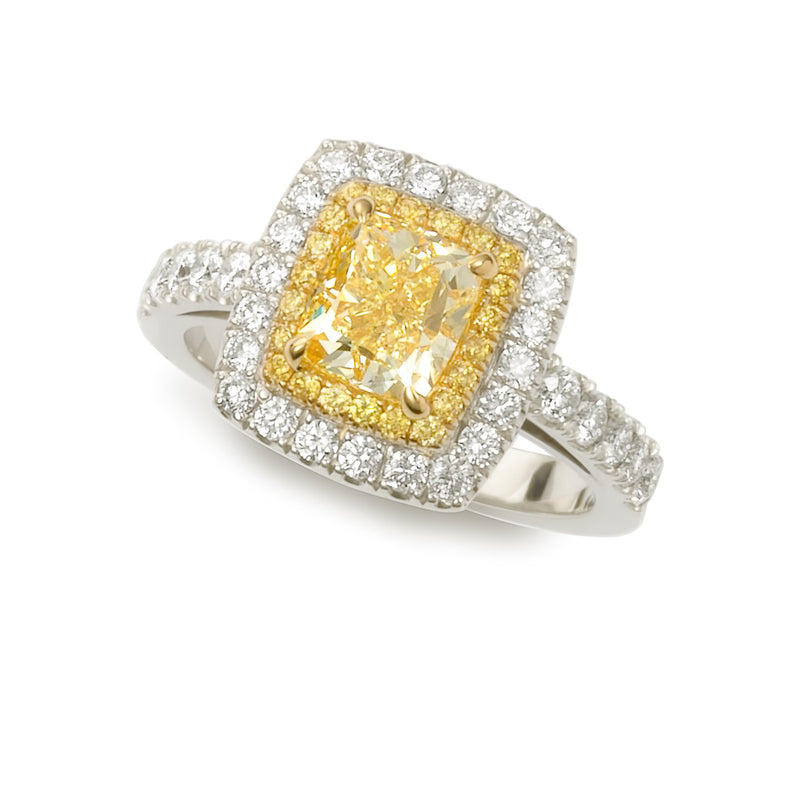 BESPOKE YELLOW DIAMOND HALO RING