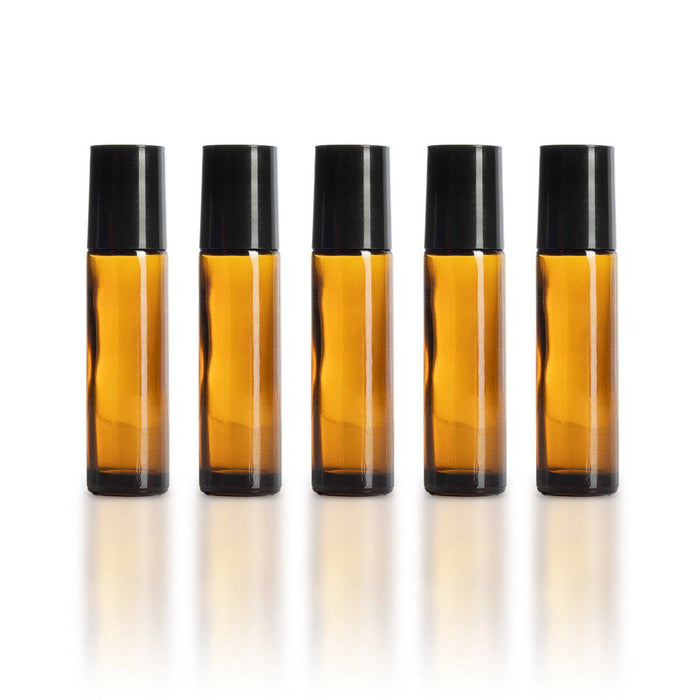 10 ml Amber Glass Bottles with Leak Guard™ Rollers (Pack of 5) - Your Oil Tools