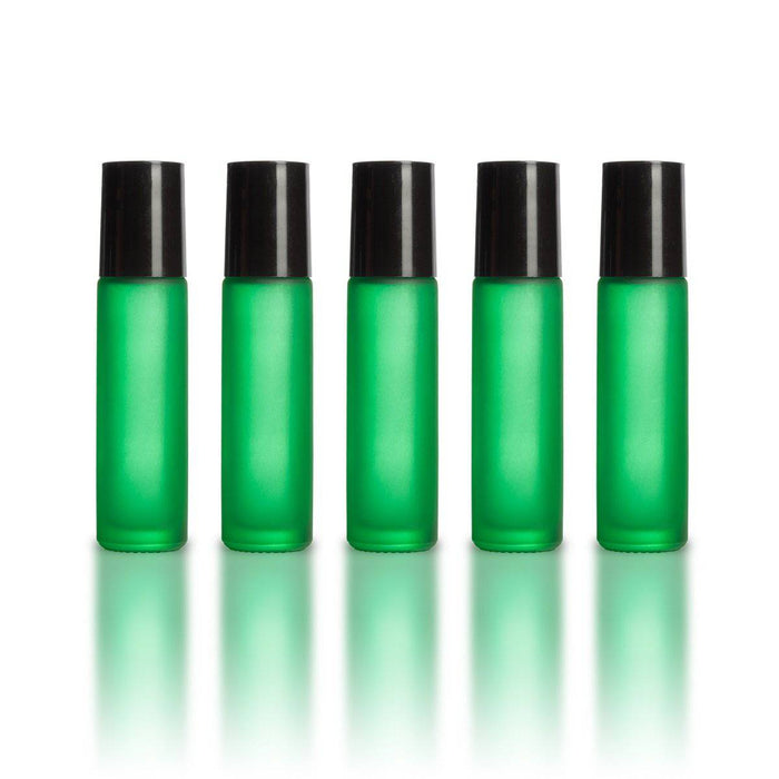 10 ml Green Frosted Bottles with Leak Guard™ Rollers (Pack of 5) - Your Oil Tools