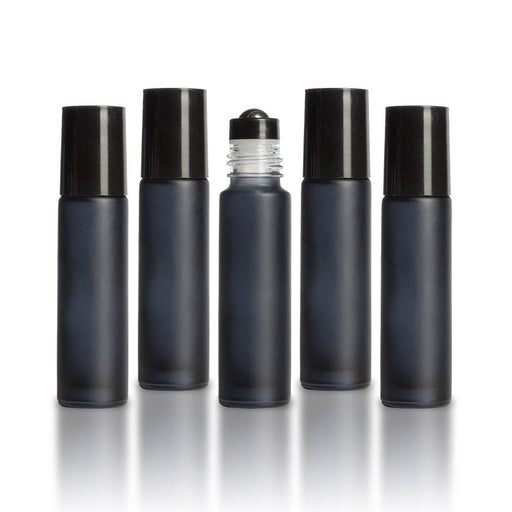 10 ml Black Frosted Bottles with Leak Guard™ Rollers (Pack of 5) - Your Oil Tools