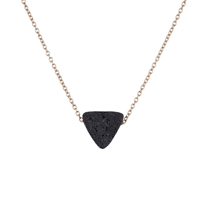 Lava Triangle Aroma Necklace with Gold Chain