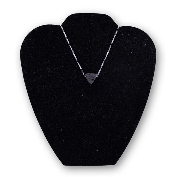 Lava Triangle Aroma Necklace with Silver Chain