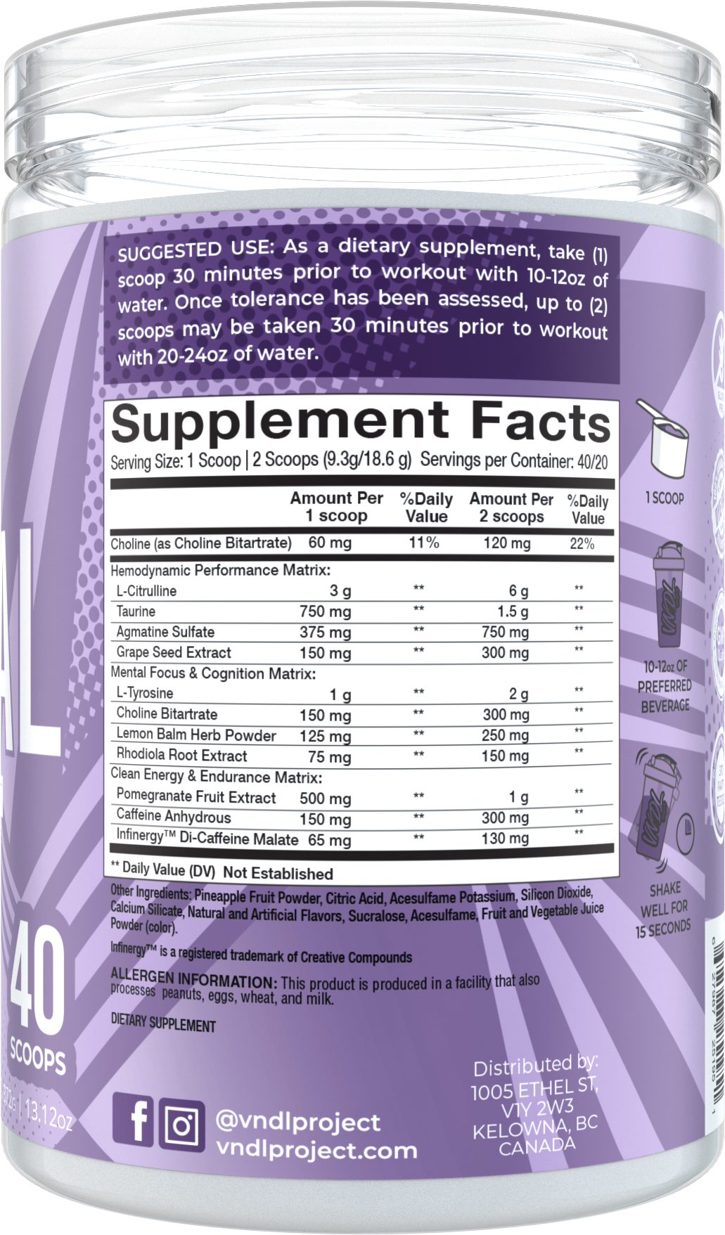 Vandal Pre-Workout Royal Lemonade – Supplement Facts