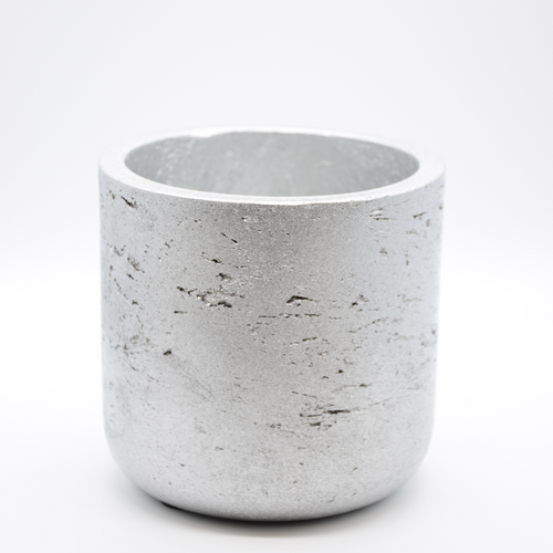 silver metallic fiberglass combined with cement pot