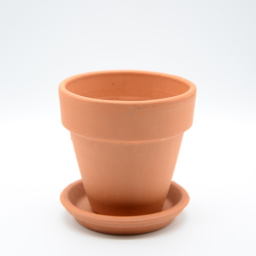3 1/2in Diameter x 3 1/4in High, clay terra-cotta pot with drip tray
