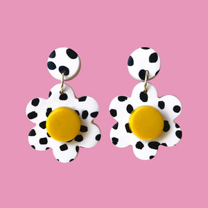Happy Daisy Earrings [Polka POP - Yellow]