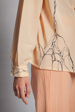 DRAPED LIGHT CORAL BLOUSE