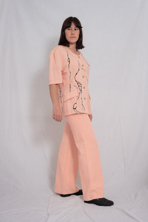 SALMON PINK SHORT SLEEVES JACKET