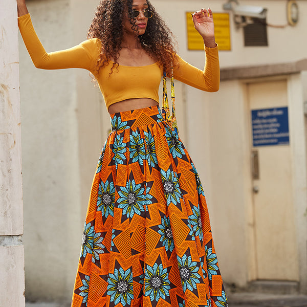 Long Flare Skirt Christmas Orange