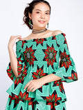 Off-Shoulder Long Sleeve Green
