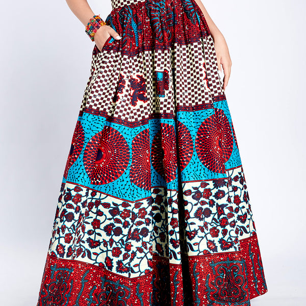 Long Flare Skirt Sajah Red