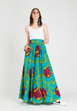 Long Flare Skirt Sunset Turquoise