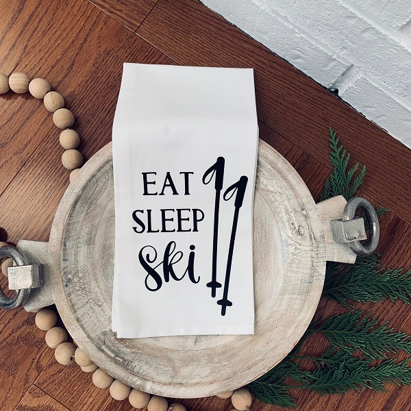 Eat Sleep Ski Tea Towel