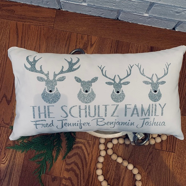 CUSTOM Reindeer Pillow