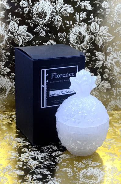 Florence Glass Pineapple Candle with Box