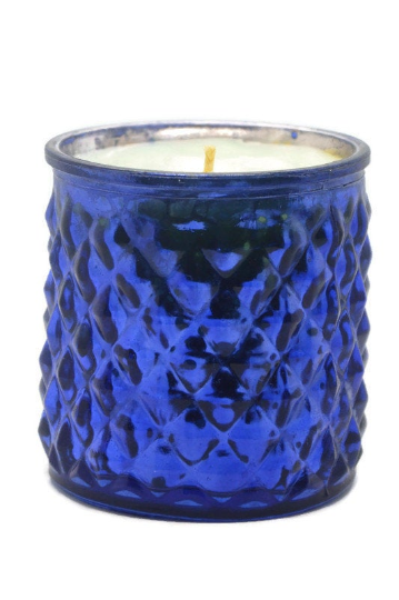 "Textured Blue Glass Candle - ""Laundry Day"""