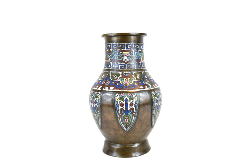 Late 19th Century Antique Chinese Bronze And Champleve Enamel Vase