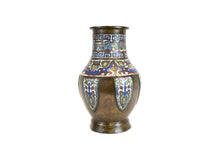 Load image into Gallery viewer, Late 19th Century Antique Chinese Bronze And Champleve Enamel Vase - Side