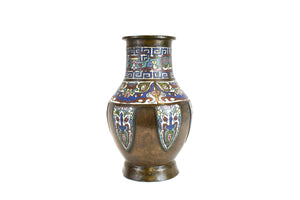 Late 19th Century Antique Chinese Bronze And Champleve Enamel Vase - Side