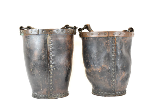 Antique Georgian Leather Fire Buckets With Metal Mounts