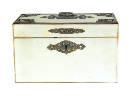 Late 18th Century Antique Tea Caddy, White With Steel Mounts -  Front