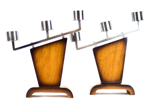 Pair of Vintage Art Deco Chromed Metal & Mahogany Candlesticks