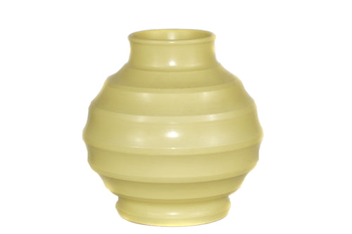 Vintage Keith Murray Wedgwood Bulbous Ribbed Vase In Matt Straw