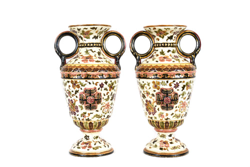 Pair of Large Antique Zsolnay Vases - Circa 1873-1882