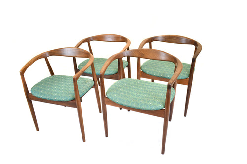 Set of four vintage mid-century danish teak 'troja' armchairs designed by Kai Kristiansen circa 1960