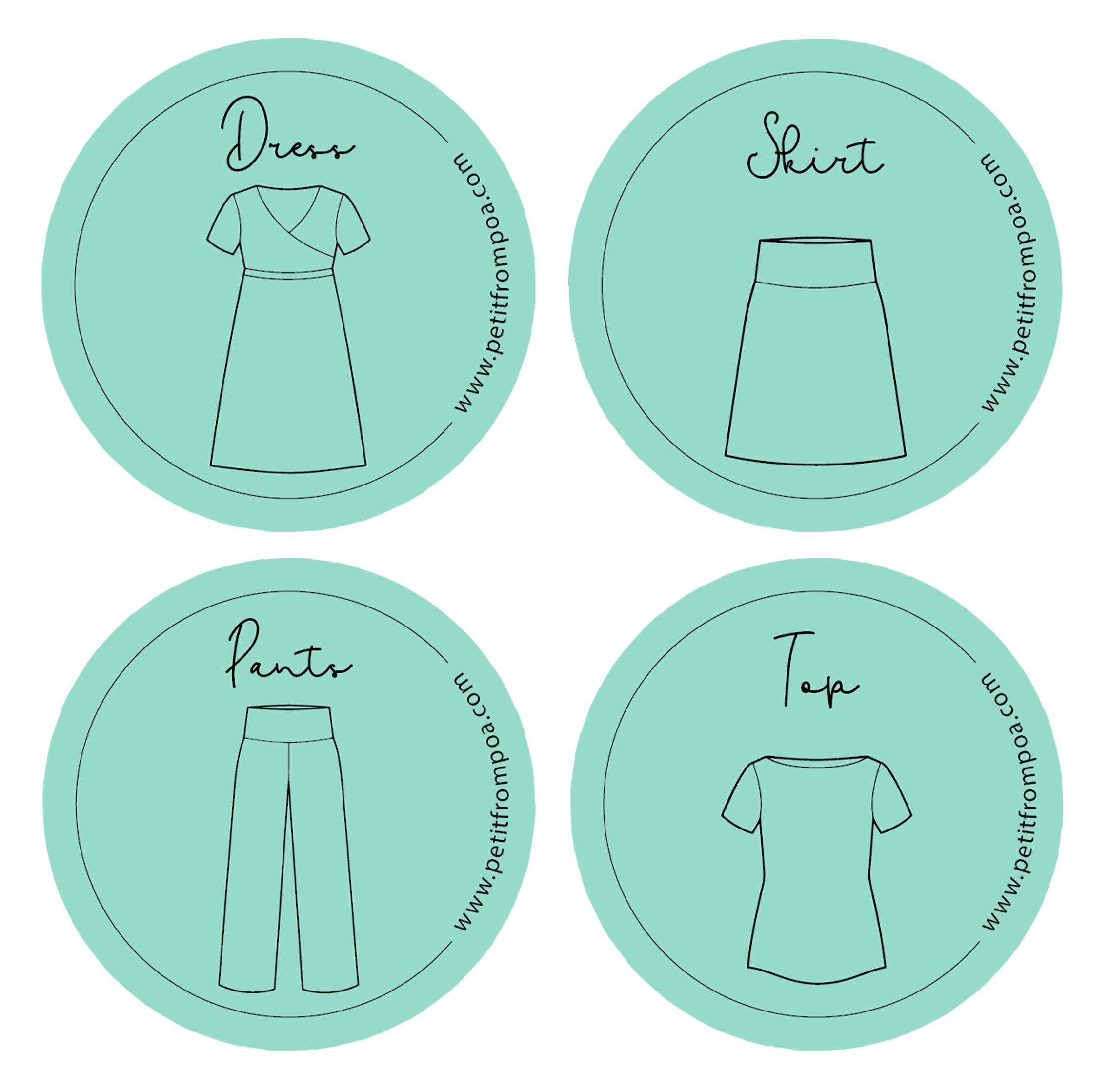 Round Petit from Poa line art logos for Dress, Skirt, Pants and Top, in Petit green with wwwpetitfrompoa.com.