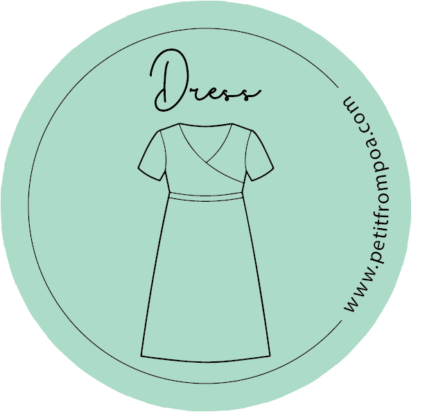 Round Petit from Poa line art dress logo in Petit green with wwwpetitfrompoa.com.