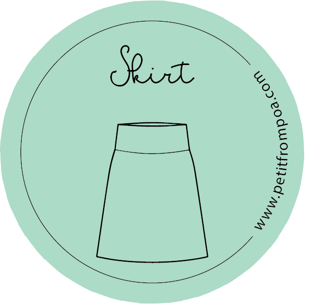 Round Petit from Poa line art skirt logo in Petit green with wwwpetitfrompoa.com.