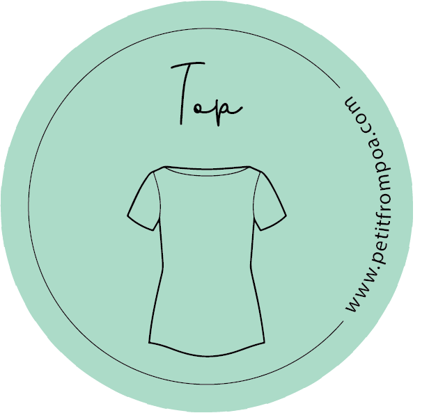Round Petit from Poa line art top logo in Petit green with wwwpetitfrompoa.com.
