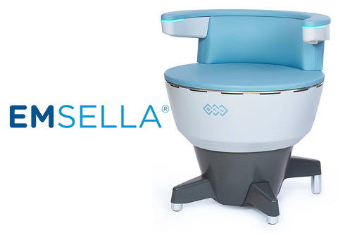 Image of Emsella chair and Emsella logo