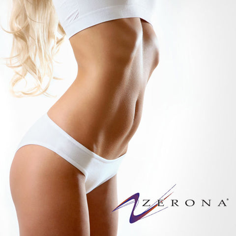 Toned midsection of beautiful woman stretching next to zerona logo